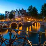 Kaizersgracht at dusk Amsterdam, Netherlands, Holland